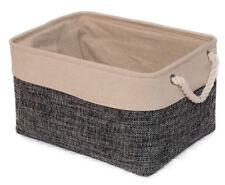Stoffkorb grau/ natur L 40cm Aufbewahrungskorb Dekokorb Box Seilgriff