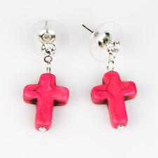 Pink Cross Ear Studs with Genuine Turquoise Gemstone Boho Punk