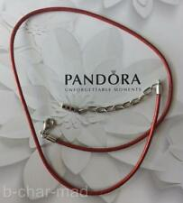 PANDORA | GENUINE Red Leather Silver Clasp Necklace / Bracelet: 590397RD-45
