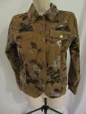 Bamboo Traders Button Front Floral Faux Suede Jacket  - Brown - Women's Small