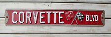 CORVETTE BLVD Sting Ray Chevy Garage Shop Embossed Advertising Car Metal Sign