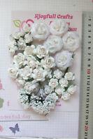 WHITE Roses & Babies Breath - 34 Flowers - PAPER & SILK 18-30mm VE4