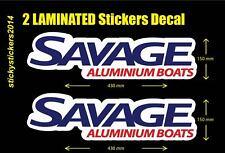 Boat Decal 2 Laminated Decal Sticker Savage Aluminium Boats 430mmx150mm FASTPOST