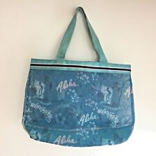 Hawaii ALOHA Surfer Tote Lightweight Carry All Bag Blue Nylon Handle Coin Purse