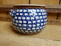 Vintage 1960s BOLESLAWIEC Polish Handmade Pottery Blue Green Flowers Small Crock