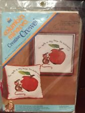 Columbia Minerva Crewel Picture Kit Apple a day Keeps Doctor away  Erica Wilson