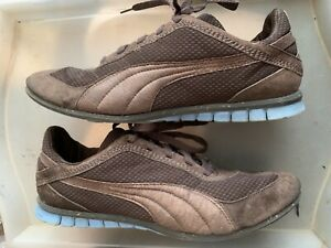 Puma 96 Hours Cubo Brown /Dawn Leather & Fabric Lace Up RARE Trainers UK Size 11