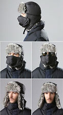 Black Mens Winter Russian Trapper Aviator Trooper Earflap Warm Ski Hat With Mask