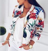 Plus Size Women's Retro Floral Zipper Bomber Jacket Baseball Casual Coat Outwear
