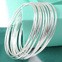 Classic 10pcs Lots Wholesale 925 Silver Winsome Bracelet Cuff Bangle Gift