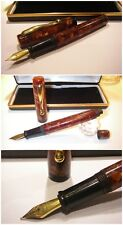 Celluloid fountain pen Gilded Copper Mosaic - Stylo Plunger Penna Stilografica