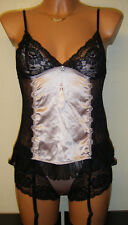 Sally Jones Babydoll Top & Short Taille S 10 soie French Lace Rose Noir Nuisette