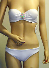 NEW VICTORIA'S SECRET UNDERWIRE White Embellished Bikini 34B & Small