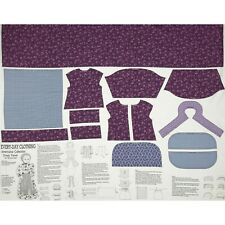 "Benartex Americana Collection Purple 18"" Doll Dress Panel Blue Fabric Sewing"