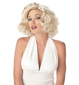 Sexy Marilyn Monroe 1950s 1960s Blonde Bombshell Womens Costume Wig