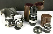 NIKON F Photomic 35mm Film T Finder 28, 50, 200mm NIKKOR Lenses Leather Cases