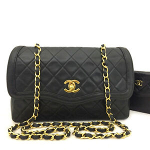CHANEL Quilted CC Logo Lambskin Chain Shoulder Bag Black w/wallet /62977