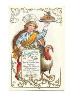 Antique Vintage Post Card Thanksgiving Nash Unposted Embossed Gilded