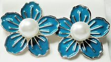 Large Blue Enamel Effect Faux Pearl Silver Tone Stud Earrings 3cm   (on Posts )
