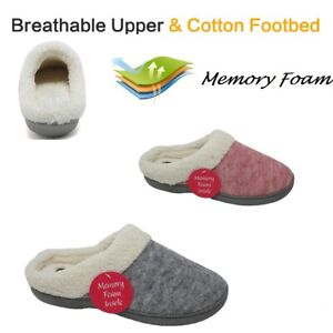 Ladies Womens Memory Foam Warm Faux Suede Slippers Slip On Clog Mules Shoes Size