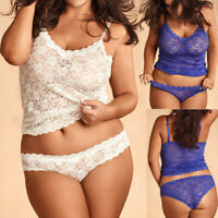Women Lingerie Corset Lace Plus Size Racy Muslin Sleepwear Underwear Tops+Briefs