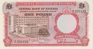 """Nigeria 1 Pound Banknote (1967) Choice Uncirculated Cond Pick#8""""Bank Building"""""""