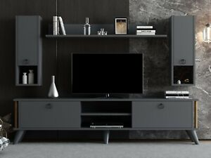 Anthracite Grey TV Unit SET &Two Wall Units& Book Case - Sienna Antracite