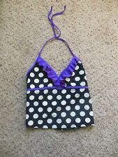 Girls SWIMSUIT Tankini Top sz 14-16 Black white polka dots purple Xhilaration