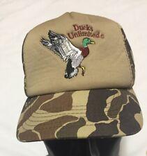 Vintage Ducks Unlimited DU Camo Snapback Trucker Hat Baseball Cap Foam