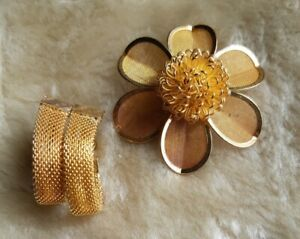 Gold Tone Mesh Flower Brooch & Napier Gold Tone Mesh Adjustable Clip On Earring