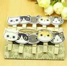 10pcs Cute Cat Kitten Wooden Clips + Rope Kid Craft Party Decorations Gift