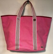 Lacoste Pink White Red Cotton Canvas XL Tote Bag with Mini Pouch