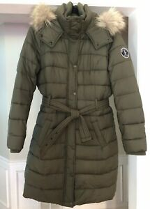 Abercrombie and Fitch Women Coat Olive Green Parka Belted Jacket Hooded Puffer L