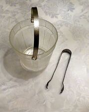 "ICE BUCKET VINTAGE TONGS 1930 CIRCA GLASS NICKEL PLATE METAL BARREL ANTIQUE 5"" ."