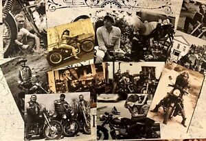 MOTORCYCLE VINTAGE STYLE POSTCARDS RECREATED FROM VINTAGE PHOTOS&*12