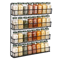 Spice Rack 4 Tier Countertop Kitchen Organizer Storage Wall Mount Holder Black