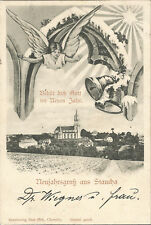 Neujahrsgruss aus Staucha bei Stauchitz, Meißen, Engel, Glocke, alte Ak um 1900