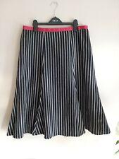 BODEN Fab Wool & Cotton Blend Black Stripe SKIRT size 14 L EXCELLENT CONDITION