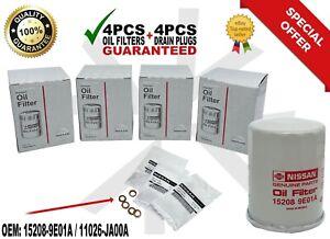 4 PCS NEW Genuine Nissan Oil Filter + Drain Plug 15208-9E01A FITS ALL MODELS