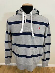 Polo Ralph Lauren Men's Large Gray Navy Striped Rugby Hoodie Sweater