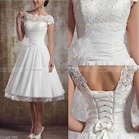 Vintage Short Wedding Dress Tea Length White Ivory Bridal Gown Size 6 8 10 12