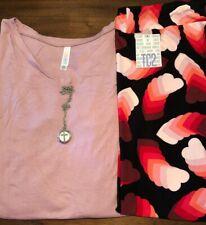 NEW LuLaRoe Outfit:3XL Mauve Christy Tee/TC2 Black Coral Mauve Hearts Leggings