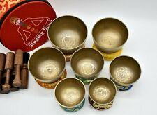 Tibetan singing bowl set of 7- Natural Bronze etching singing bowls from Nepal