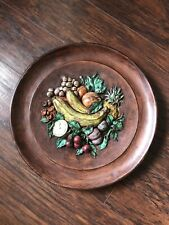 Vintage Large Painted Ceramic Wall Hanging Decor Wall Plaque Fruit Design