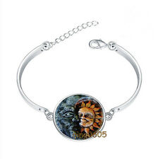 Sun and Moon Bracelet Photo Glass Cabochon Tibet silver Bracelets