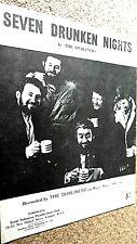 THE DUBLINERS: SEVEN DRUNKEN NIGHTS (SHEET MUSIC)