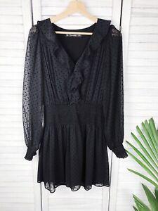 Zara Black Polka Dot Playsuit, Dress, Romper, Frill, Size S, Au 8, Bust 88cm