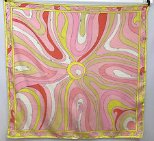 VINTAGE EMILIO PUCCI SILK SCARF LARGE SIGNED EMILIO 30 TIMES PINK YELLOW GOLD