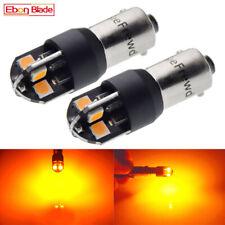 2 x Amber 6V DC LED Side Light BA9S 8SMD Canbus Bayonet Car Scooter Bright Bulbs