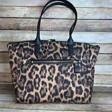 Michael Kors Kelsey Medium Tote Purse Bag Handbag Nylon Leopard Free Ship  NEW